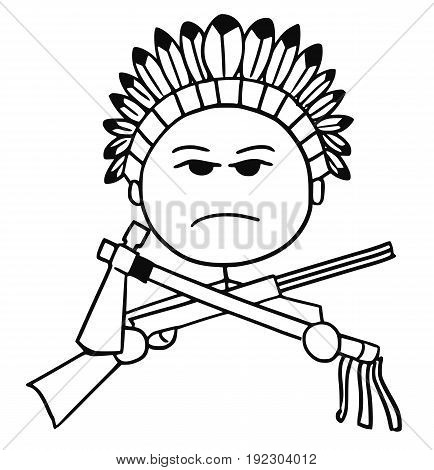 Cartoon vector stickman of native Indian tribal chieftain with rifle and tomahawk.