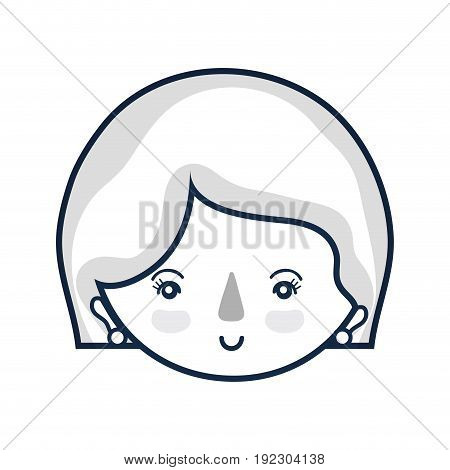 woman face with expression and hairstyle vector illustration