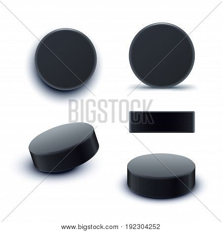 illustration of hockey puck in different angles with shadows on white background