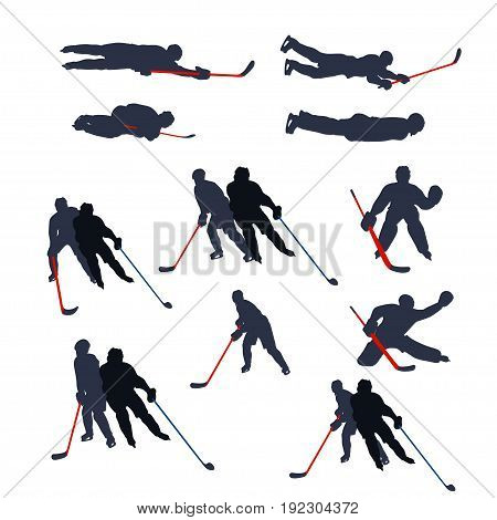 illustration of two colored hockey player silhouettes isolated on white background