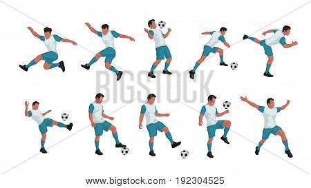 illustration of colored soccer player in different poses set isolated on white background