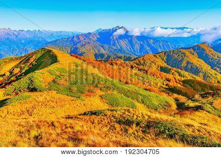 Fantastic mountain tops at autumn evening time. Caucasus. Russia.
