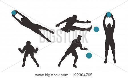 illustration of dark color goal keeper set in different poses with blue ball isolated on white background