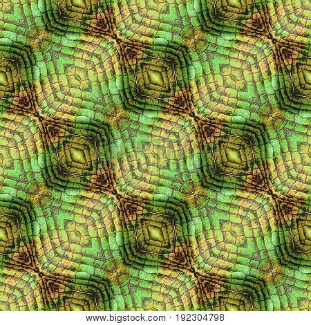 Abstract seamless pattern of oval shapes and scales resembling reptile skin. Orange, green and brown seamless background with scales and beveled squares
