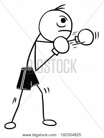 Cartoon vector stickman boxer in boxing gloves and shorts