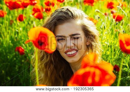 Woman Or Happy Girl In Field Of Poppy Seed