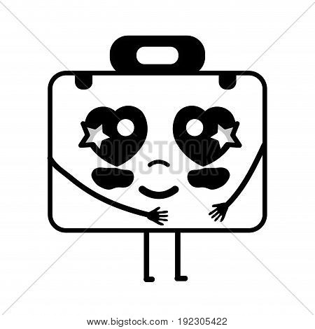 contour kawaii cute tender briefcase and medical kit vector illustration