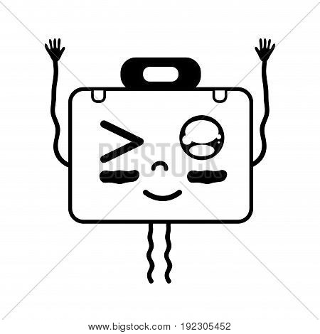 contour kawaii cute funny briefcase and medical kit vector illustration