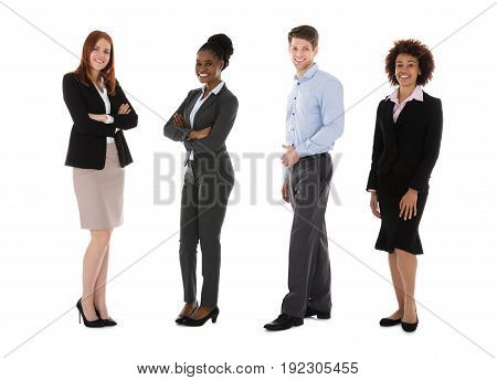 Portrait Of Young Smiling Businesspeople Over White Background