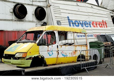 Lee-on-the-solent, Hampshire, Uk - June 10 2017: Hovercraft Made From An Ice Cream Van, As Seen On B