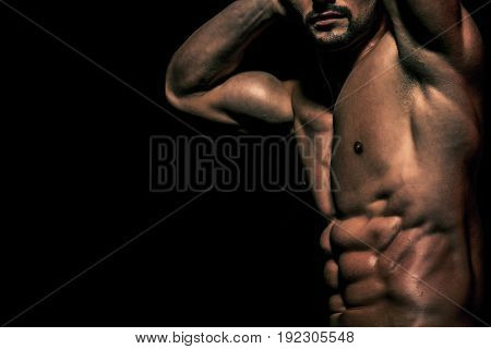 Torso Of Sexy Man With Muscular Body In Underwear Pants