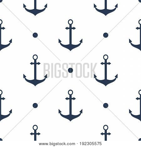 Seamless vector pattern with anchors sea texture decoration marine.