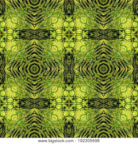 Abstract seamless pattern of rounded shapes and scales resembling snake skin. Green, brown, black and yellow background with scales and concentric pattern