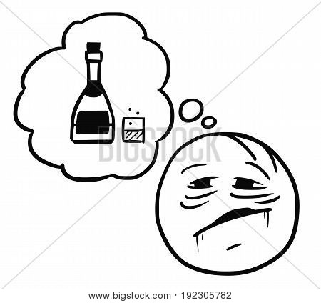 Cartoon vector stickman thirsty alcoholic thinking about bottle of alcohol