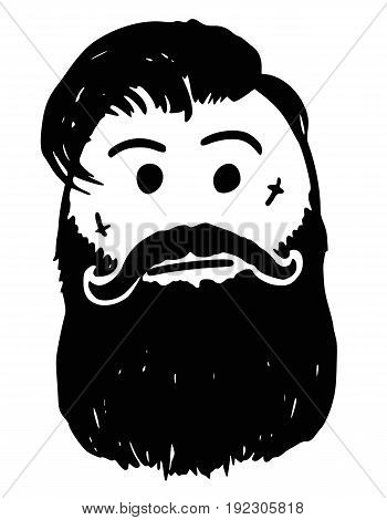 Cartoon vector stickman hipster lumber sexual cool man style with facial hairbeard tattoo and mustache.