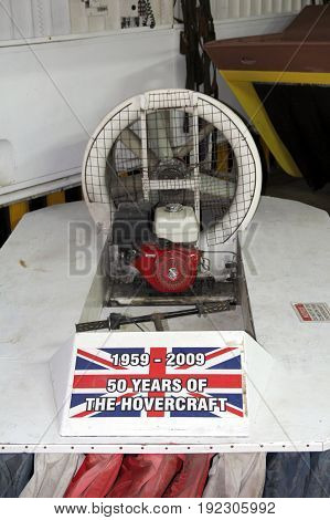 Lee-on-the-solent, Hampshire, Uk - June 10 2017: Small Hovercraft With Flag Commemorating