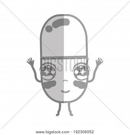 line kawaii cute happy pill pharmaceutical medicine vector illustration