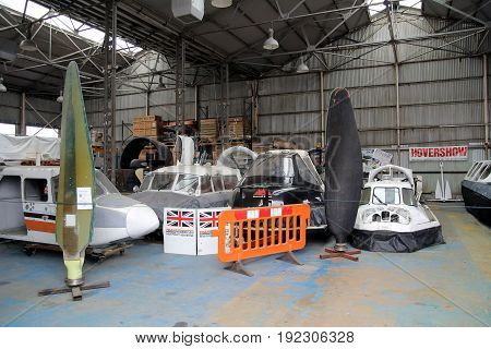 Lee-on-the-solent, Hampshire, Uk - June 10 2017: Large Hangar At The Hovercraft Museum In England Co