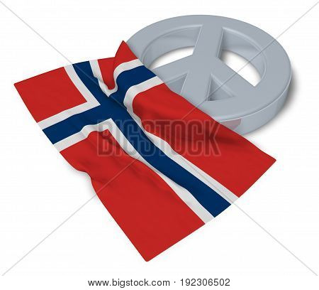 peace symbol and flag of nroway - 3d rendering