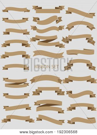 ribbon vector banners set. Ribbon label  glossy, ribbon curled tag, waving ribbon