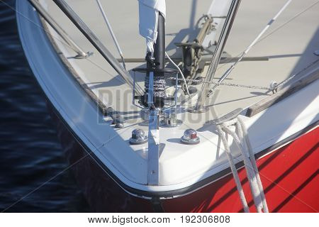 Sailboat's rigging that is moored to shore in Traverse City, Michigan