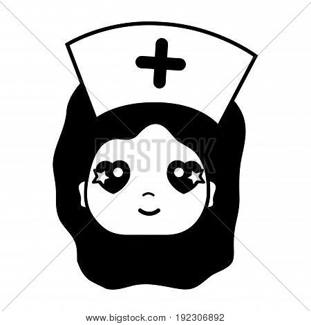 contour kawaii professional nurse face with hat in the head vector illustration