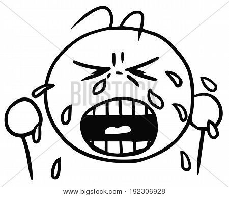 Cartoon vector of cry crying smiley with tears