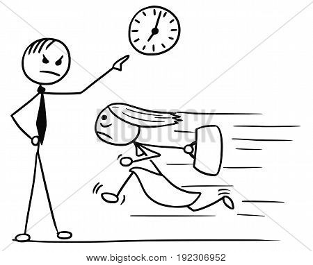 Cartoon vector doodle stickman woman running for work few minutes late and her boss waiting and pointing at wall clock