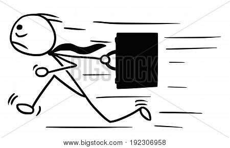 Cartoon vector doodle stickman running with briefcase maybe late for work