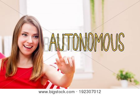 Autonomous concept with young woman in her home