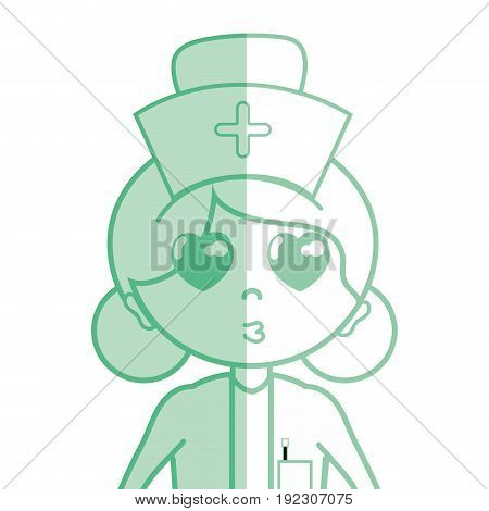 Kawaii professional nurse with hat in the head vector illustration