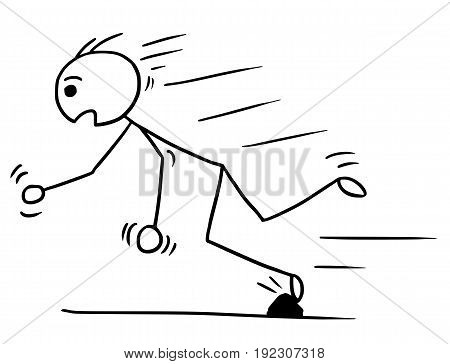 Cartoon vector stickman man falling stumble trip over stone