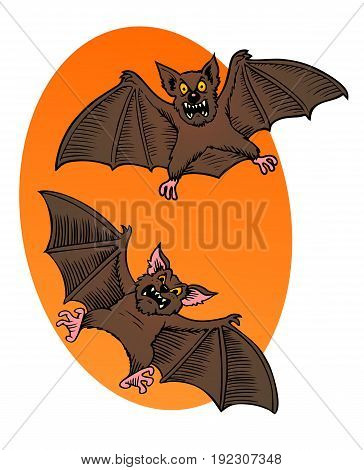 Halloween creatures trying to be scary Two Scary Cartoon Bats