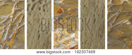 Panoramic set of natural rock textures banner background