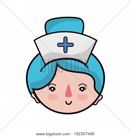 professional nurse face with hat in the head vector illustration