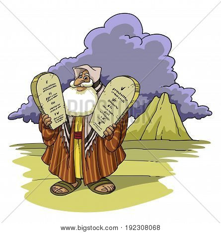 Moses in the desert holds the Ten Commandments