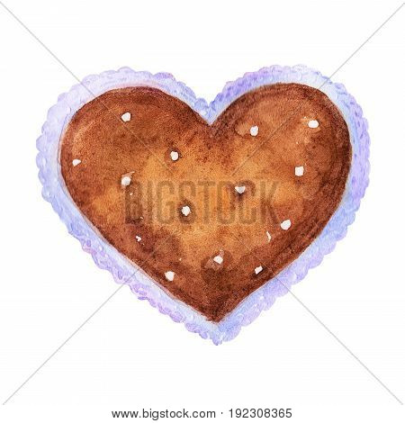 Colorful Brown heart with lace illustration isolated on white background.Perfect for valentines holiday.