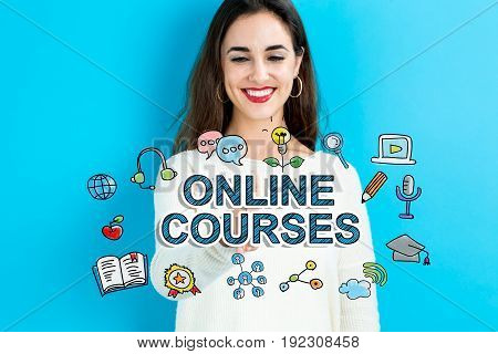 Online Courses  text with young woman on a blue background