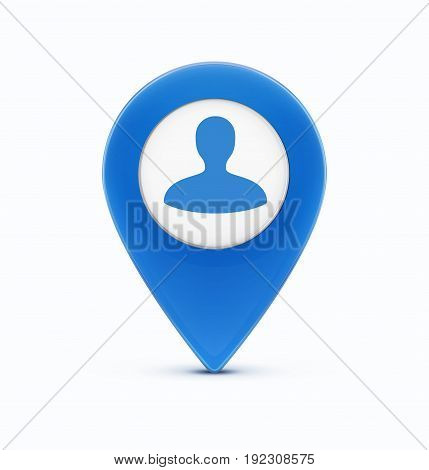 Vector illustration of glossy blue map location pointer icon with man silhouette avatar