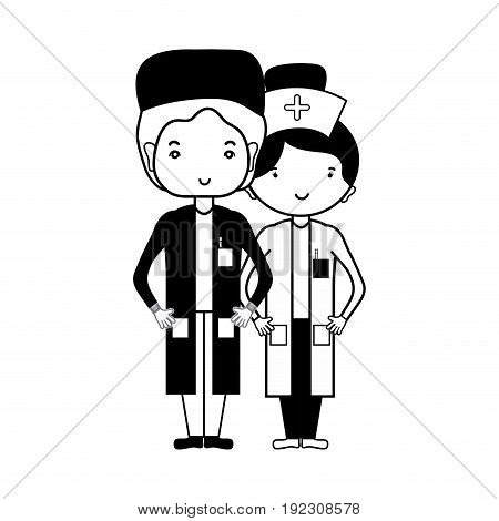 contour doctor and nurse to help people vector illustration