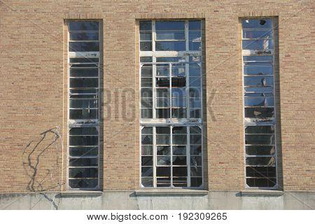 A run-down power plant with broken windows in Traverse City, MI