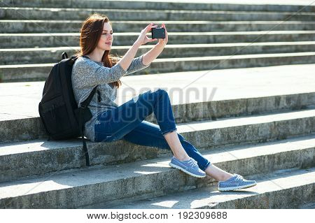 Girl Sitting On Stone Steps 06