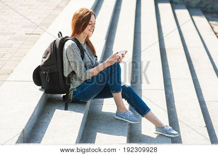 Girl Sitting On Stone Steps 03