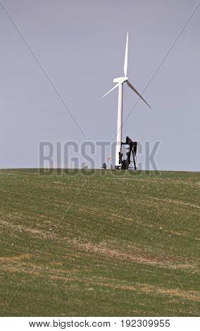 Wind Turbine and Oil Pump in Saskatchewan Canada