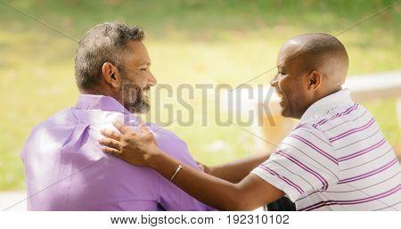 Gay Couple Happy Homosexual Men Meeting In Park