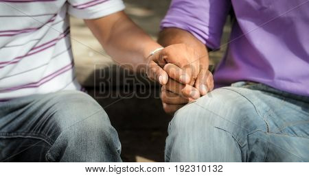 Homosexual Men Showing Love Gay People Holding Hands
