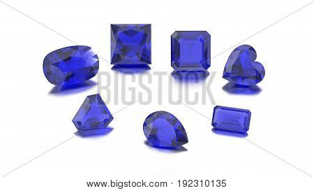 3D illustration closeup group of seven different sapphire diamonds zoom macro on a grey background
