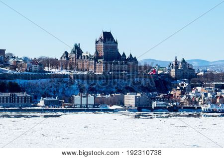 Quebec City during winter with The Château Frontenac.