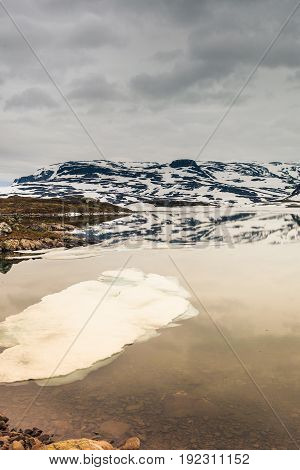 Norway Scenic Mountains With Frozen Lake.