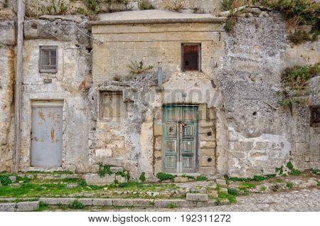 Abandoned cave dwellings of Sasso Caveoso - Matera Basilicata Italy